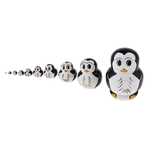 10-tetilig Handgemalt Russische Matroschka Matruschka Matrjoschka Puppen aus Holz - Pinguin