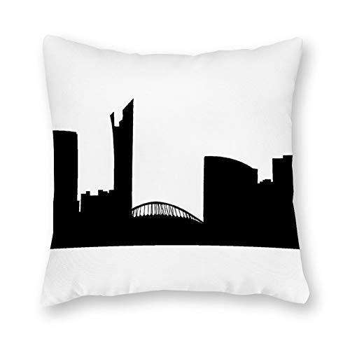 qidushop Durban - Funda de almohada de lona para sofá o dormitorio (45,72 x 45,72 cm), color negro