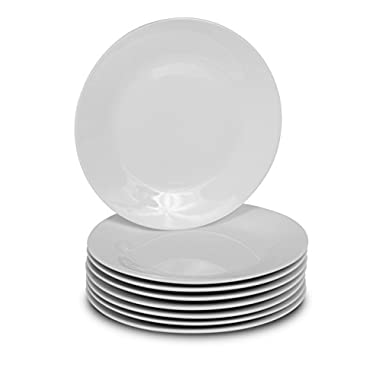 8 White Round Dinner Plates - 10.5-Inch Classic Solid Coupe Style Porcelain Dinnerware