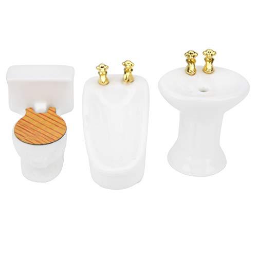 Zerodis 1:24 Miniatur-Puppenmöbel, 3-teiliges simuliertes Miniatur-Badezimmerset Keramik-Badewanne WC-Waschbecken-Kit für Puppenhaus Spielzeug Home Decoration Scene Shooting(Weiß)