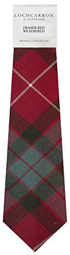 I Luv Ltd Gents Neck Tie Fraser Red Weathered Tartan Lightweight Scottish Clan Tie