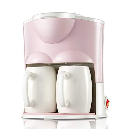 Hebry Kaffeemaschine Filter, Haushalt Tropf Automatische Tee-Maschine Kleine Mini-Doppel-Tasse Amerikanische Kaffeemaschine, Pink