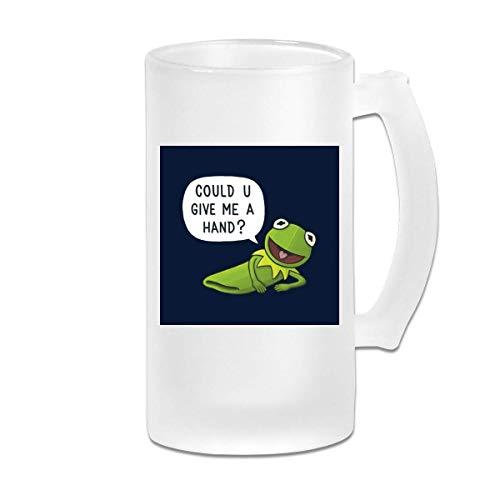DJNGN Gedruckte 16oz Milchglas Bier Stein Tasse Tasse Die Muppets Kermit Der Frosch Gib mir eine Hand - Grafikbecher