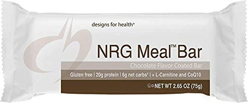 Designs for Health Keto-Friendly NRG Meal Bar - Energy Support + High Protein with Allulose, 6g Net Carbs (12 Bars)