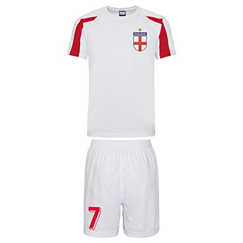 Personalised Retro England Style Kit White and Red Football Shirt anad Shorts for Boys and Girls Best Birthday Gift for Children and Kids Playwear for 3 to 4 Years Old