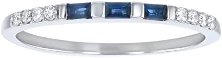 Olivia Paris Baguette Cut Blue Sapphire and Round Diamond Anniversary Band product image