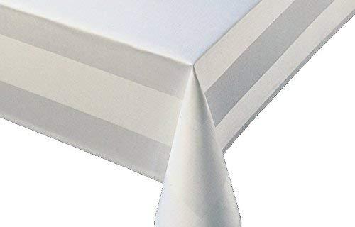TextilDepot24 Damast Tischdecke weiß mit Atlaskante bei 95°C waschbar - Größe wählbar (130 x 280 cm)