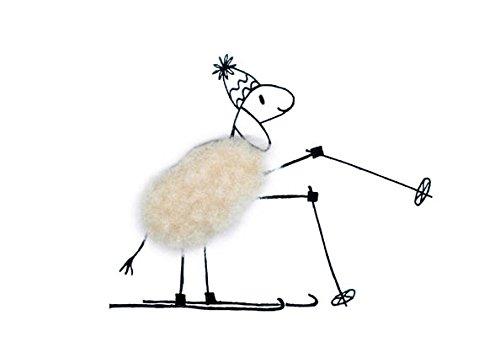 Plüschkarte / Plüschpostkarte A6 • 20708 ''Ski-Schaf'' von Inkognito • Künstler: INKOGNITO © Barbara Dienz-Sengmüller • Plüschpostkarten • Weih./Neujahr