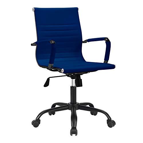 Lucy, Silla de Oficina, Silla de Despacho o Escritorio, Acabado en Velvet Azul, Medidas: 64 cm (Ancho) x 64 cm (Fondo) x 89-99 cm (Alto)