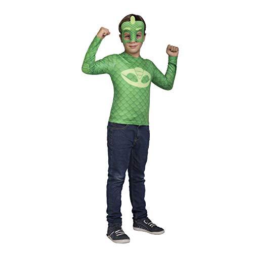 Viving Costumes–Kostüm PJ Masks Gekko Größe 7/8Jahre Shirt, Mehrfarbig (231305)