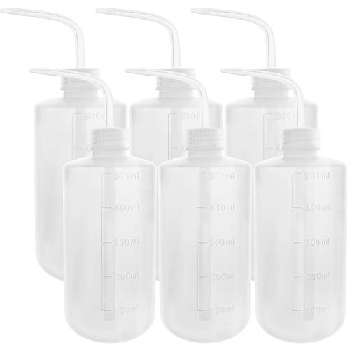 DEPEPE 6pcs Safety Wash Bottle Squeeze Bottle LDPE Squirt Bottle with Narrow Mouth 500ml Medical Label Tattoo Bottle(17oz)