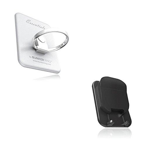 BUNKER RING Multi Holder Pack【車載ホルダー付】バンカーリング iPhone/Galaxy/Xperia/スマートフォン・タブレットPCを指1本で保持<落下防止+スタンド+車載ホルダー機能>(シルバー) BUMUSI