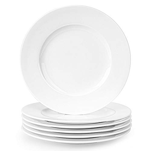 Artena Bright Elegant White Dinner Plates,Desser Salad Plates Set of 6-8 Inches