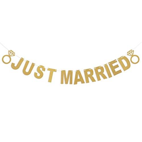 Tinksky Ghirlanda JUST MARRIED festone matrimonio decorazione oro