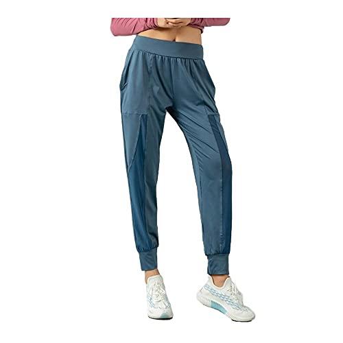 N\P Jogginghose für Damen, lockere Passform, für Jogging, Laufen, Fitnessstudio, Yoga, hohe Taille Gr. L, blau