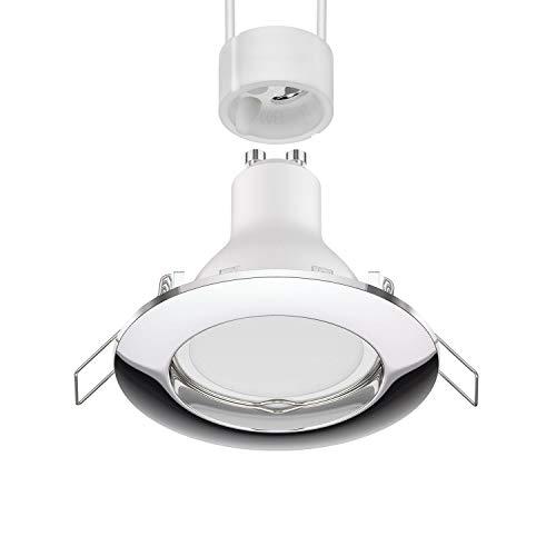 parlat Foco empotrable de techo LED CIRC cromado GU10 Lámpara LED, blanca, regulador de intensidad de luz de 3 pasos 100% 50% 20%: 540lm / 270lm / 110lm, 10 piezas.