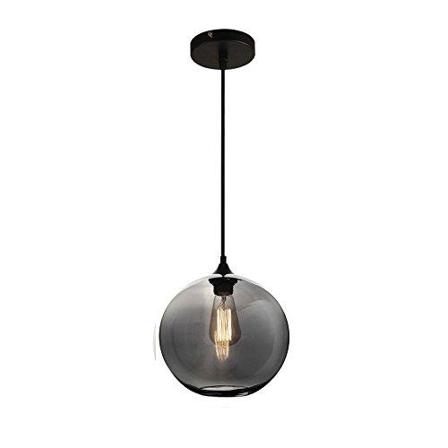 MZStech Pendelleuchte Glas Grau,Hängeleuchte Kugel Lampe Glas Grau Deckenleuchte Industrial 25cm Lampen(Grau)