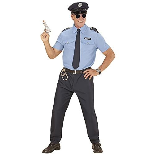 Widmann 04032 - Kostüm Polizist, Hemd, Hose, Gürtel, Krawatte, Hut, Uniform, Beruf, Mottoparty, Karneval
