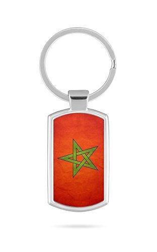 Schlüsselanhänger mit Gravur Wunschtext Marokko Fahne 2