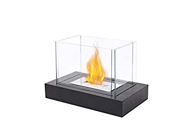 JHY DESIGN Rectangular Tabletop Fire Bowl Pot with Four-Sided Glass 34cmL Portable Tabletop Fireplace–Clean-Burning Bio Ethanol Ventless Fireplace for Indoor Outdoor Patio Parties Events by JHY DESIGN
