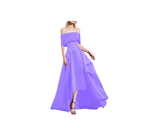 DDWW Vintage Wedding Dress High Low Prom Dresses Satin Evening Formal Dress Off Shoulder Lavender, 8