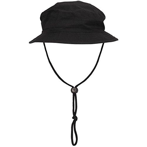 MFH Brit. Chapeau de Brousse Boonie Hat avec mentonnière (Noir/S)