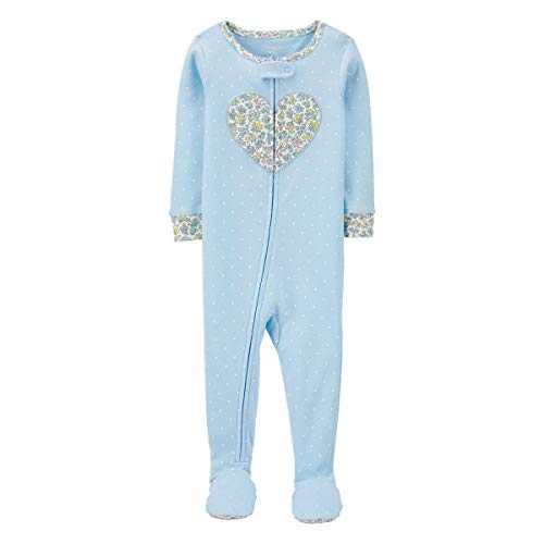 Price comparison product image Carter's 1-Piece Floral Heart Snug Fit Cotton Footie PJs (24 Months) Blue