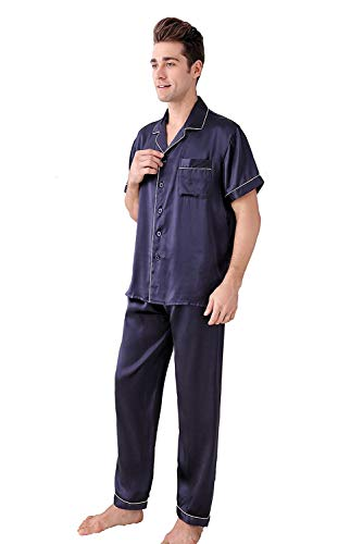 De Dormir Conjunto De Hombres Verano 100% Pijamas De Ropa Seda De Morera Light