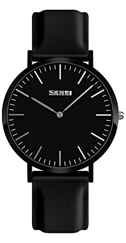 Simple Design Analog Watch with Silicone Band for Men/Women Student Watches (Men, Black)