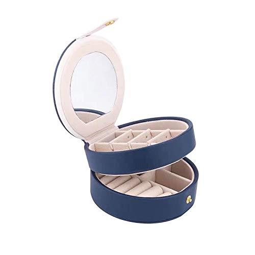 JFCXBSSL Joyero para mujer, color azul oscuro, doble capa, caja de almacenamiento de joyas, collar y pendientes