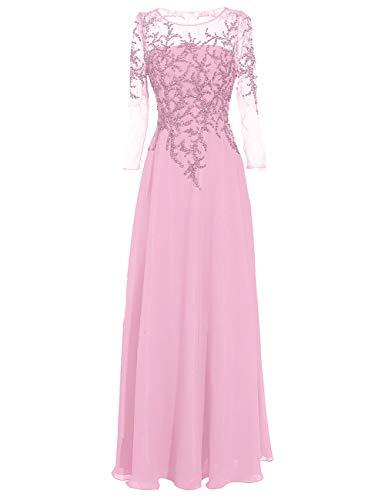 Damen Abendkleid Chiffon Lang Brautmutterkleider Vintage Ballkleid A-Linie Langarm Festkleid Hochzeitskleid Rosa 40