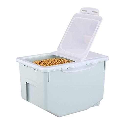 WJMLS Großer, frischer, trockener Vorratsbehälter aus Kunststoff für Hunde- und Katzenfutter mit abschließbarem Klappdeckel, Messlöffel und Rädern für Kibble-Vogelfutter Reis und Bulk-Food BPA-frei