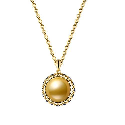 KnSam 18K Oro Amarillo Collar, Collar de Mujer Redondo con Perla Diamante Azul, Perla Oro, Color Oro