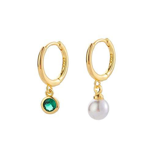Pendientes Mujer Pendientes De Aro para Mujer Pendientes De Boda De Color Dorado Vintage con Circonita para Mujer Pendientes De Piedra Asimétrica Verde Perla