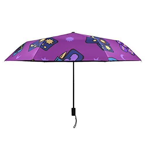 Bunter Regenschirm Winddicht Mysteriöse Tarot Weissagung Konstellation Niedlicher Regenschirm Für Frauen Tragbar Leicht Winddicht Kinder Jungen Regenschirm Sonne Regen-perfekter Taschenschirm Mädchen