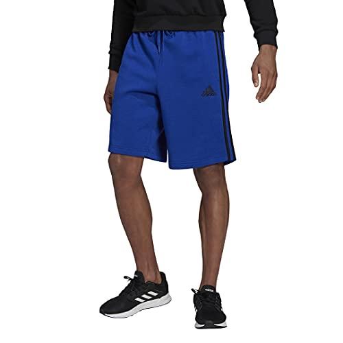 adidas Men's Standard Essentials Fleece 3-Stripes Shorts, Team Royal Blue/Black, Large