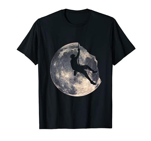 Escalador Hombre Escalada Luna Montaña Escaladores Senderismo Camiseta