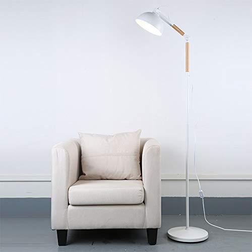 DSM Estudio Sala de pie Lámpara de Lectura Solid Wood Cafe Iron Art Lam Lámpara de pie de Brazo Largo 170 cm (Color : White)