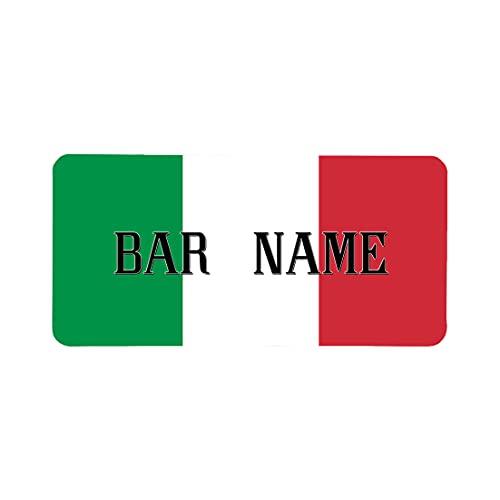 Tappetino personalizzato per bar e birra, motivo bandiera italiana, con scritta in lingua inglese 'Home Lockdown Pub Bar' in gomma, tappetino per cocktail bar vecchio whisky e pub idea regalo