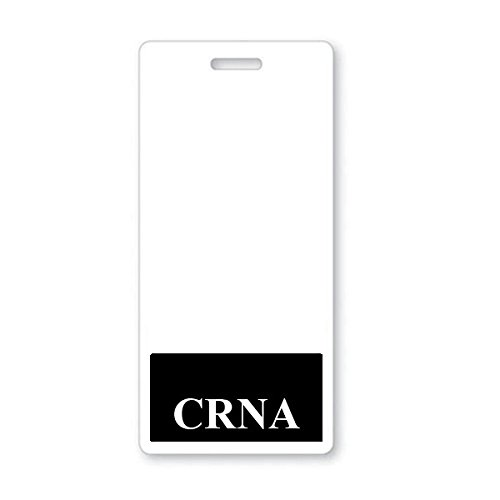 CRNA Badge Buddy - Vertical Badge Buddies for Certified Registered Nurse Anesthetist - Spill & Tear Proof Cards - 2 Sided USA Printed Quick Role Identifier ID Tag Backer by Specialist ID