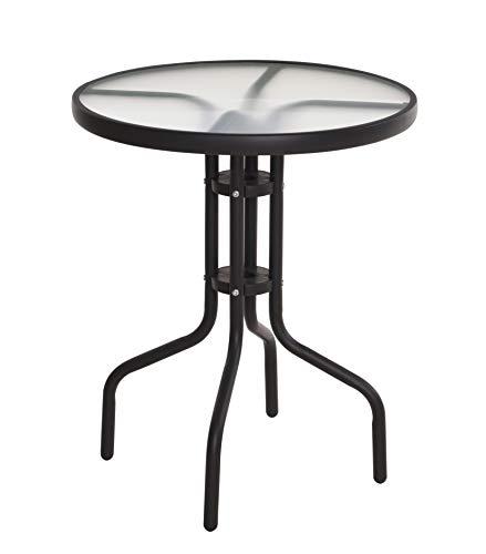 Metall Glastisch rund - 70x60 cm - Bistrotisch mit Glasplatte - Gartentisch Balkontisch Terrassentisch Tisch schwarz