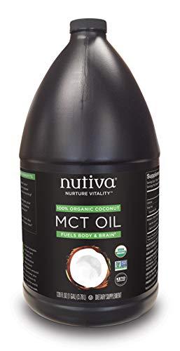 Nutiva Organic MCT Oil, Unflavored, 1 Gallon | USDA Organic, Non-GMO, Non-BPA | Vegan, Gluten-Free, Keto & Paleo | 14g MCT per Serving & Neutral Flavor for Energy Boost to Coffee, Shakes and Salads