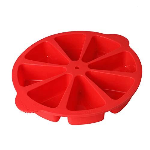 Stouge Moldes para hornear triángulo de 8 cavidades de silicona molde molde molde de jabón molde para rebanadas de pizza (rojo)