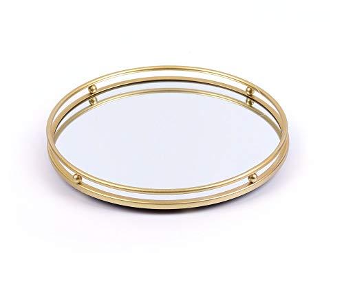 Dipamkar 25cm Vintage Round Mirror Tray Serving Tray Perfume Candle Holder for Vanity Dresser Bathroom Bedroom