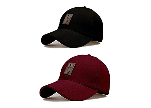 DABSTER Combo edixo Black and Maroon caps for Men Pack of 2 Cool caps (Free Size)
