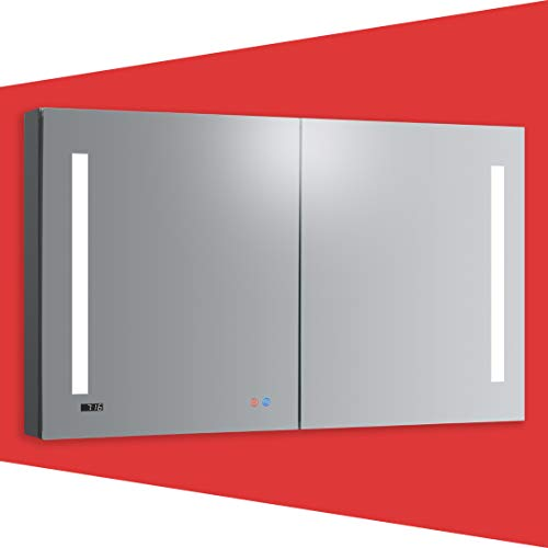 DECADOM 48in LED Mirror Medicine Cabinet Recessed or Surface w/Full Mirror Defogger, Dimmable 3 Color LED, Clock, Makeup Mirror 3X, Blum Hinges, Outlets & USB Ports (48W x 30H)