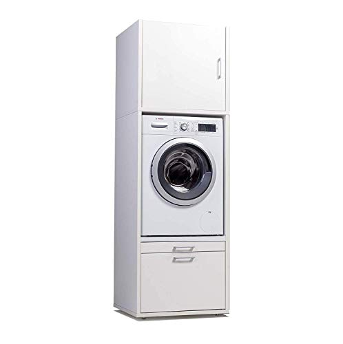 *WASCHTURM Waschmaschinenschrank 207 cm x 67 cm x 65 cm – Stabil – Höhenverstellbar – TÜV Zertifiziert*