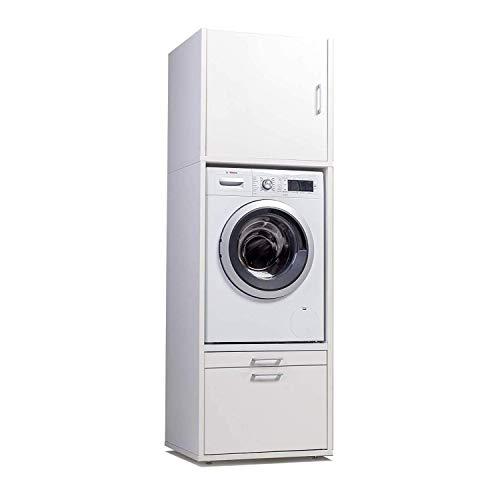 WASCHTURM Waschmaschinenschrank 207 cm x 67 cm x 65 cm - Stabil - Höhenverstellbar – TÜV Zertifiziert