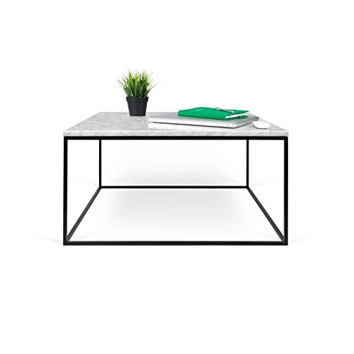Paris Prix - Temahome - Table Basse Gleam 75cm Marbre Blanc & Métal Noir