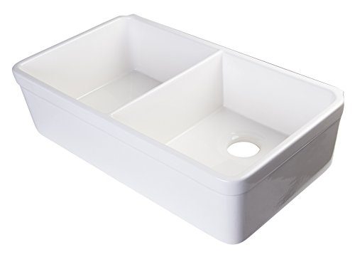 ALFI brand AB512 32-Inch  Double Bowl Fireclay Farmhouse Kitchen Sink with 1 3/4-Inch  Lip, White